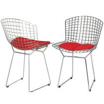Cadeira Bertoia Cromada Assento Vermelho Decoração Design