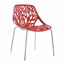 Cadeira Kiruna Ramos Vermelha, Flower Polipropileno Cozinha
