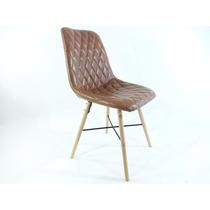 Cadeira Dkr Vintage Bade Madeira Estofada Couro Marrom