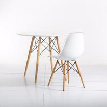 Mesa Charles Eames Decorativa Pé Madeira Branca Ou Preta