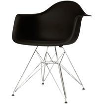Cadeira Eames Dar Base Em Aço Inox Preta - Bbd318