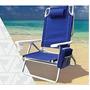 Cadeira De Praia Alumínio 5 Posições C/porta Copo E Objetos