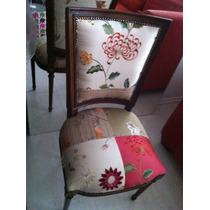 Cadeira Antiga Em Madeira Revestimento Em Seda Pura