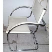 Cadeira De Jantar Em Couro Branco E Base Cromada 5 Und