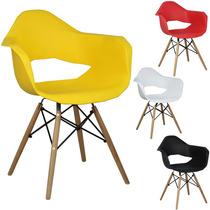 Cadeira Alana Charles Eames Em Pp Base Madeira E Aço Preto