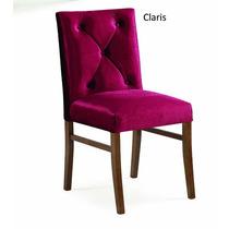 Cadeira Aveludada Estofada Claris 5 Pontos Gold Em Jequitibá
