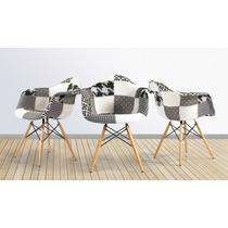 Cadeira Charles Eammes Patchwork Com Braços Black And White
