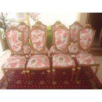 Poltrona Cadeira Colonial Entalhada Com Detalhes Em Ouro