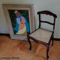 Cadeira De Palhinha - Jacarandá - Antiquário Brasil.