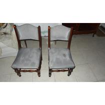 Par De Cadeiras Antigas - Madeira Nobre Maciça