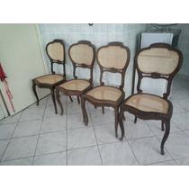 Raro Jogo De 4 Cadeiras Medalhão Luis Xv Em Jacarandá