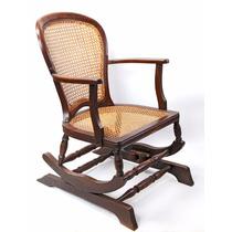 Cadeira Antiga De Balanço Palhinha