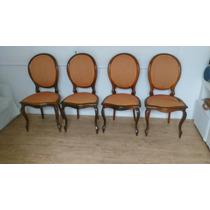 Jogo De 4 Cadeiras Medalhão Simples Em Puro Jacarandá Maciço