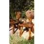 Antigo Par Cadeiras Esculpidas Madeira Maciça