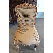 Cadeira Em Madeira Maciça Encosto Palhinha Tecido Nobre