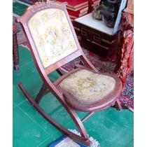 Cadeira De Balanço Dobrável Antiga Em Madeira Rara Década 50