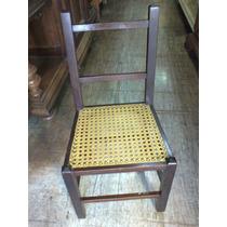 (only Wood) Cadeira Ant. De Imbuia Palhinha De Criança