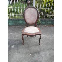 Cadeira Medalhão Em Jacarandá Forrada Em Tecido