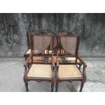 Estupendo Jogo De 8 Cadeiras Império Em Jacarandá E Palhinha
