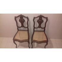 Incrível Par De Cadeiras Luis Xv Em Jacarandá E Palhinha