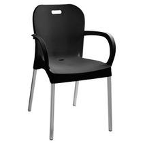 Cadeira Preta Com Braço E Pé De Alumínio Produto Novo
