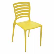 02 Cadeira Sofia Com Encosto Vazado Cor Amarela Tramontina