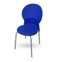 Cadeira Luna Fixa Assento E Encosto Em Polipropileno Azul