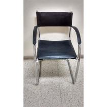 Cadeira Em Aço Inox Com Couro Preto