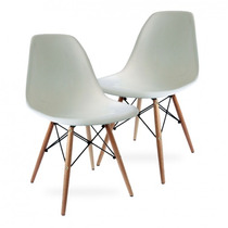 Kit 2 Cadeiras Charles Eames Wood Branca Design - Imperdível