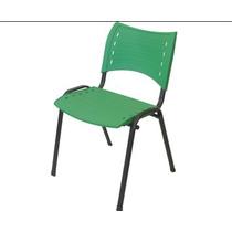 Cadeira Fixa Plastica Empilhavel Iso Verde 2 Unidades!!!
