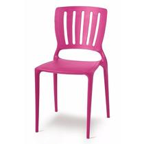03 Cadeiras Sofia Encosto Vazado Vertical Rosa Tramontina
