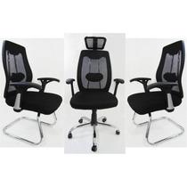 1 Cadeira Presidente + 02 Fixas Em Tela Mesh