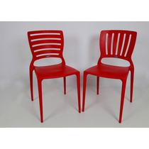 03 Cadeiras Sofia Com Encosto Vazado Vermelho Tramontina