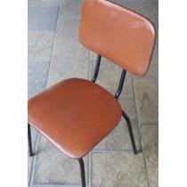 Cadeiras Estofado Marron Pe De Ferro (jogo 4pçs)