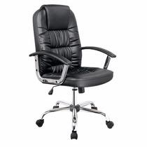 Cadeira Secretária Para Computador Couro Pu Preta