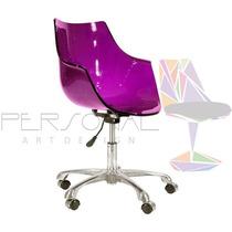 Cadeira Acrílica Wave Torre Inox - Loja Vivo Roxa/púrpura
