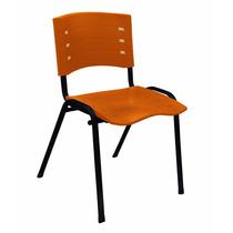 Cadeira Fixa Empilhável New Iso Polipropileno Laranja Tsmob