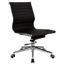 Cadeira Escritório Office Baixa Sem Braços Em Couro C/relax