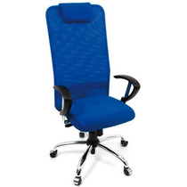 Cadeira Presidente Extra Tela C/ Apoia Braços E Base Cromada