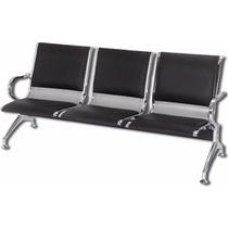 Cadeira Longarina Aeroporto Cromada 3 Lugares Super Promoção