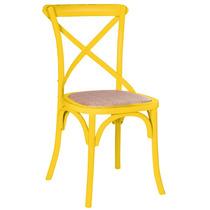 Cadeira Katrina Amarela Sala Almoço Jantar Madeira Rattan