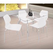 Kit 4 Cadeiras De Cozinha Em Pp Azul Cromada