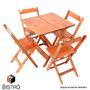 Conjunto Mesa 60x60 C 4 Cadeiras Dobrável De Madeira Natural