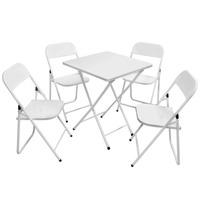 Conjunto De Cadeira E Mesa Dobrável Em Ferro Branco Metalmix