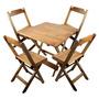 Jogo De Mesa E Cadeira Dobrável De Madeira 80x80cm Natural