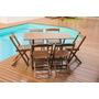 Jogos De Mesas Bar 120x70 Com 6 Cadeiras Dobrável Em Madeira
