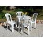 Conjunto Mesa +4 Cadeiras Bistrô Antares Plástico Branco