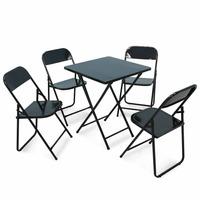 Conjunto De Cadeira E Mesa Dobrável Em Ferro Preto Metalmix
