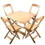 Conjunto De Cadeira E Mesa Dobrável Em Madeira 60x60 Natural