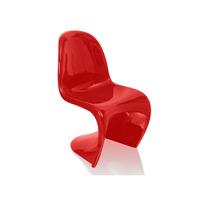 Cadeira Panton Em Abs Com Pintura Brilhante Vermelha